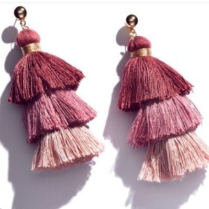 NWT MULBERRY AND GRAND TASSEL TIERED EARRINGS